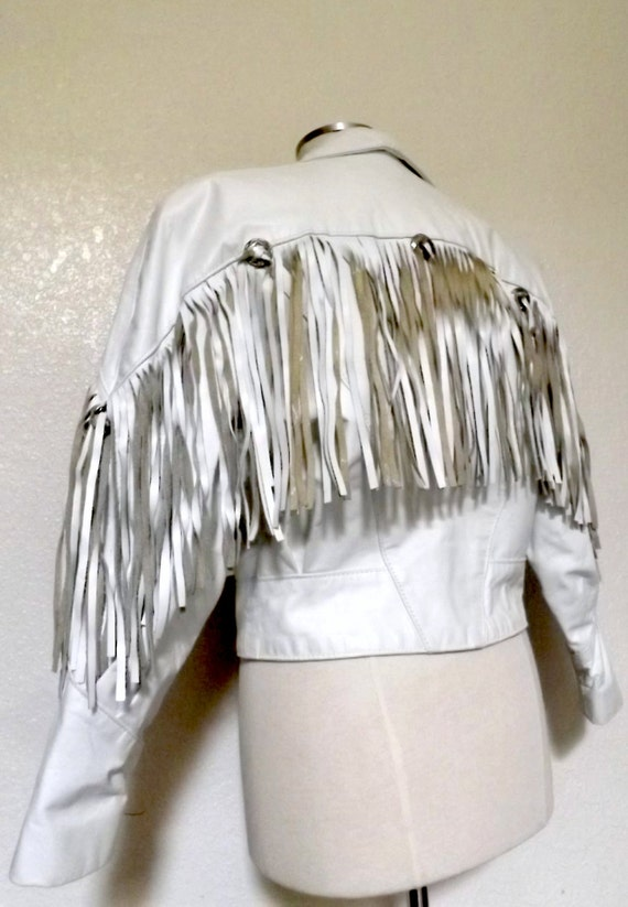 Vintage White Faux Leather Fringe Jacket Western Rocker