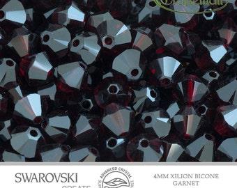 12 Swarovski 4mm Xilion Bicone - Garnet 5328 241 Advance Crystal