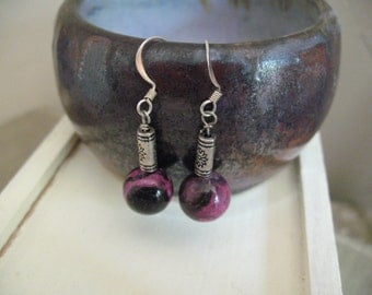 Earrings: Pink and Black Howlite Dangle with Dainty Flower Metal Bead