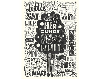 "A4 Art Print - ""Illustrated Nursery Rhyme: Little Miss Muffet"" - Art Print / Typography / Hand Lettering"
