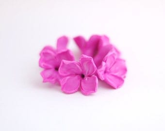 Lilac beads | Flower beads | Pink beads with white shades | Polymer clay beads - 6 pcs