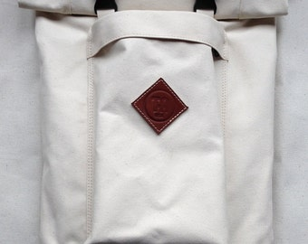 Natural Zipper Roll-Top Backpack