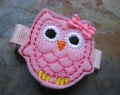 Felties - Owl Feltie Hair Clip - Stitchie Hairclip - Clippie - Barrette - Pink and Hot Pink Gingham (Set of 1)