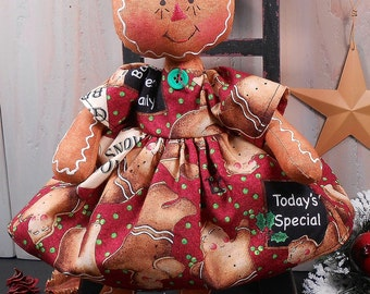 PDF E- Sewing Pattern Raggedy Gingerbread Girl Doll Christmas Holiday Primitive Folk Art Fabric Cloth Craft #77