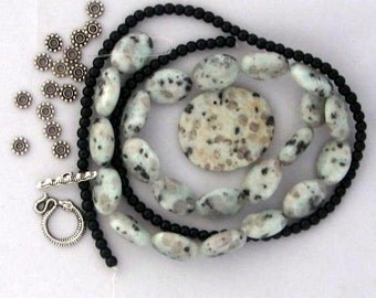 Beads a Plenty Sesame Jasper Black Glass Pewter Pendant Beads Jewelry Necklaces Bead Kit DIY