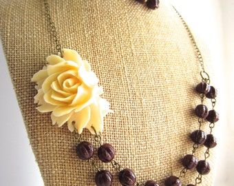 Brown Statement Necklace Flower Necklace Double Strand Beaded Fall Wedding Jewelry Bridesmaid Necklace Bridal