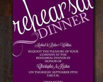 Purple and White Rehearsal Dinner Invitation