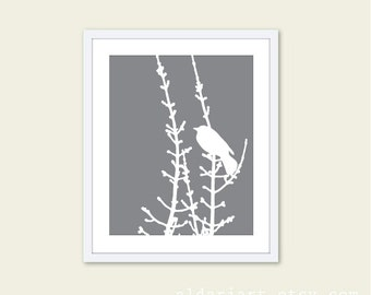 Bird on Branches Art Print - Modern Bird Wall Art - Slate Grey and White - Home Decor - Woodland Bird Art - Bird on Twig - Aldari Art