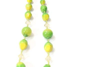 Vintage Lime Green Beaded Necklace