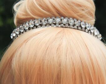 Vintage White Crystal Rhinestone Mini Tiara