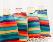 Bright Stripe Beer Coozie Set of four Mexican Serape Beer Huggers, Beer Bar Accessory, Wedding Favors, fiesta wedding favors