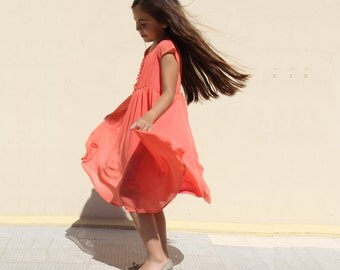Coral Bridesmaid Dress - Coral Chiffon Dress - Coral Dress - Little Girl Flower Girl Dresses - Flower Girl Dress - Nukile