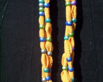 Upcycled Orange T-Shirt Necklace or Scarf with Beads (J-434)