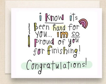 """GRADUATION, """"Proud of You"""" card 4 1/2 x 5 1/2, Congratulations greeting card for college, highschool, middle school."""