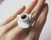Cute tea cup ring - miniature porcelain coffee cup ring  - silver adjustable ring (As seen on buzzfeed food)