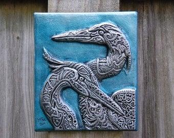 Heron Harmony Bird Art, Waterfowl Sculpture Stone Art, Garden Sculpture, Outdoor Wall Art, Gardener Gift
