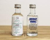 Custom Mini Bottle Labels Absolut Vodka Personalized Wedding Favors Printed Waterproof Labels Liquor Alcohol Bridal Shower Reception AB-1001