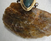 Emerald Ring  size 7 sterling oxidized simple 22 carat gold emerald antique ancient inspired