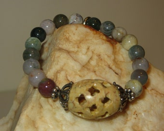 Jasper Stretch Bracelet with Carved Soapstone Focal Bead