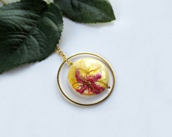 Orchid Necklace painted by hand, flower pendant, floral jewelry, spring jewelry