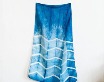 Chevron Natural Indigo Shibori Dyed Silk Scarf