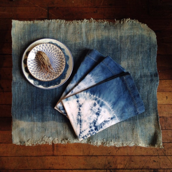 Natural Indigo Shibori Hand Dyed Dinner Napkins