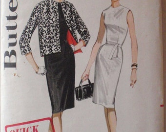 Jackie O Style Sheath Dress and Lined Jacket - Women's 1960's Sewing Pattern - Butterick 2631 - Size 14, Bust 34