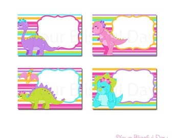 Girl Dinosaur Label Tents | PRINTABLE Girl Dinosaur Label Tents | Dinosaur Labels | Girl Dinosaur Buffet Label Tents | Dinosaur Party #533