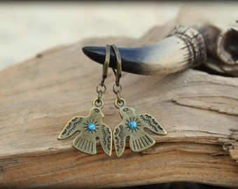 Southwestern Dangle Bronze Eagles Thunderbird Native American Boho chic Gypsy Cowgirl Handcrafted earrings