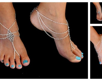 A pair of Moroccan inspired Barefoot Sandals Gypsy Hippie Vintage look Beach wedding foot jewelry Anklets silver plated chain by Inali