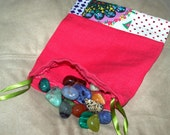 Coral Linen Patchwork Pouch for Crystals, Gemstones, Oracle and Tarot Cards