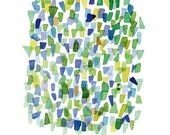 """Sea glass art green blue watercolor painting Abstract little painting  9 x 12"""""""