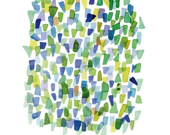 Sea glass art green blue watercolor painting Abstract little painting  9 x 12""