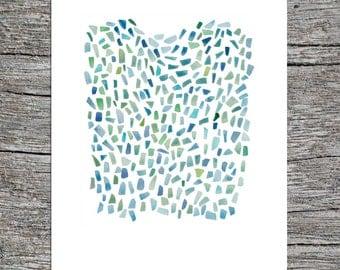 Painting watercolor, Original watercolor painting, painting sea glass, watercolor art blue green aqua, nautical painting, minimal painting