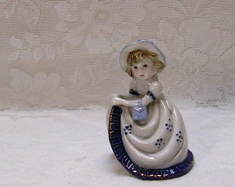 Colonial Girl Figurine - Porcelain - French Country Decor - Blue and White - Cottage Chic Home Decor