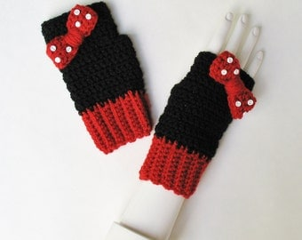 Minnie Mouse Wristwarmers, Fingerless Gloves, Texting Mitts, Cute Accessory, Adorable Stocking Stuffer