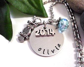 Graduation Jewelry, Personalized Jewelry, Hand Stamped Jewelry, Graduation Owl Necklace, 2016 graduation