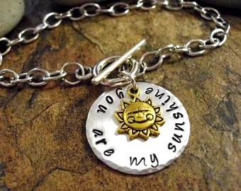 FLASH SALE TODAY You Are My Sunshine Bracelet, Hand Stamped Charm Bracelet, Toggle Bracelet, Stainless Steel
