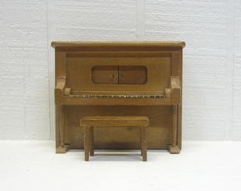 Vintage Music Box Upright Piano Dollhouse Piano
