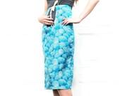 1950s Maternity Skirt / Blue Sea Shells / Tie Waist / Small or Medium