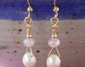 SALE!  Pink and Pearl Earrings, Pearl and Crystal Earrings, Dangle Pearl Earrings, Pink and White Pearl Earrings, Gold Filled, FROSTY PINK