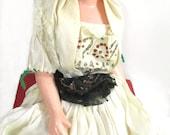 Vintage Gypsy Boudoir Doll, Original Bohemian Dress, Flapper Era Composition Doll