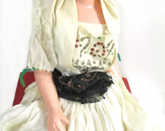 Gypsy Boudoir Doll Composition Original Dress - Flapper Era Doll