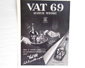 Vintage Vat 69 Scotch Whisky Ad, Art Deco Era 1930s France, 1930s Paper Ephemera, L'Illustration