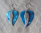 Angel Wing or Bird Wing Sky Blue Guitar Pick Earrings - Customizable Colors