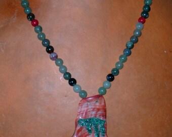 Abalone Pendant Necklace with Malachite Inlay