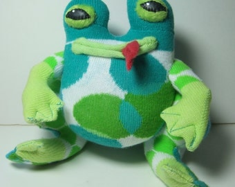 BHOU-DAH, a Fractured Fairy Tale Fun Frog, repurposed from a sock of ethereal blues and greens.