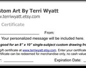 Gift Certificate - 16x20 Pet Portrait Drawing From Photo - Original Personalized Pencil Sketch Dog Cat