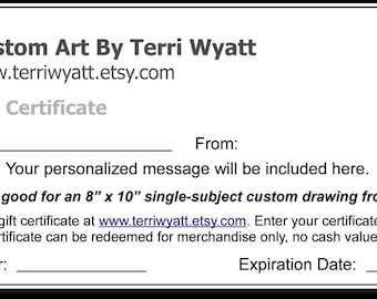 Gift Certificate - 8x10 Pet Portrait Drawing From Photo - Original Personalized Pencil Sketch Dog Cat Horse