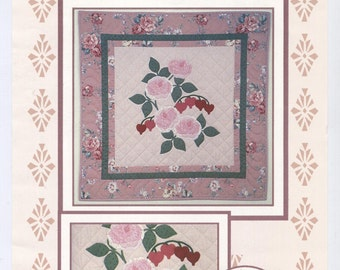 Roses & Bleeding Hearts Quilt Wall Hanging Pattern - UNCUT - Q011